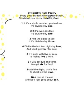 Divisibility Poem