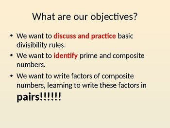 Divisibility, Prime and Composite, Factor Pairs:  Lesson Presentation
