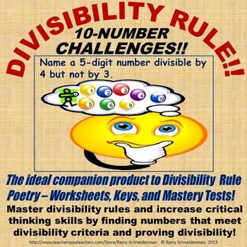 Divisibility Rule Critical Thinking 10-Number Challenge Co