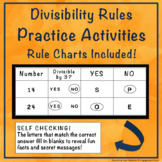 Divisibility Rule Activities PLUS: Divisibility Rule Charts
