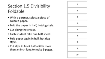 Divisibility Rule Foldable