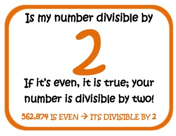 Divisibility Rule Poem Posters