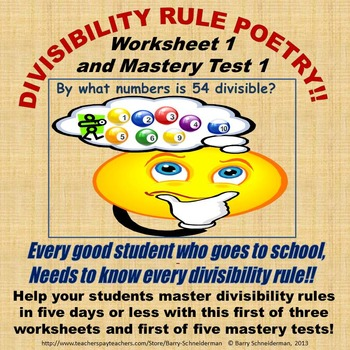Divisibility Rule Poetry Worksheet 1 And Mastery Test 1 By Barry