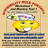 Divisibility Rule Poetry - Worksheet 1 and Mastery Test 1