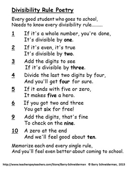 Divisibility Rule Poetry - Worksheet 2 and Mastery Test 2