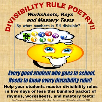 divisibility rules poetry worksheets keys and mastery tests. Black Bedroom Furniture Sets. Home Design Ideas