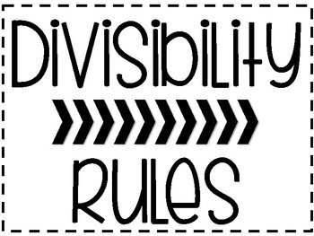 Divisibility Rule Posters and Reference Sheets