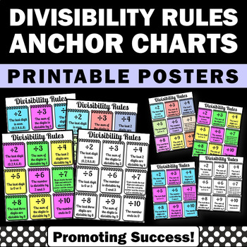 Divisibility Rules Posters, Division Anchor Charts Math Centers 3rd 4th Grade