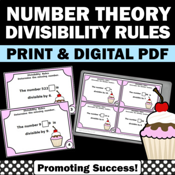Divisibility Rules Activities, Division Task Cards, 4th Grade Math Review Game