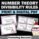 Divisibility Rules Task Cards for Number Theory Unit 4th Grade Math Review Games