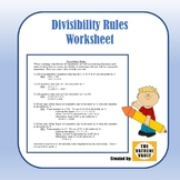 (Freebie) Divisibility Rules Worksheet
