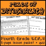Divisibility Rules: 8 Page Lesson Packet and Quiz, Build Number Sense!