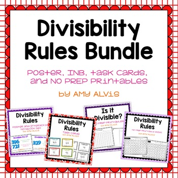 Divisibility Rules Bundle Poster INB Task Cards NO PREP Printable