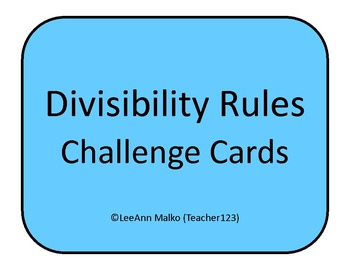 Divisibility Rules Challenge Cards