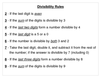 Divisibility Rules Chart