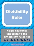 Divisibility Rules, Charts, and Hidden Pictures