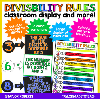 Divisibility Rules Classroom Display and Colorful Poster
