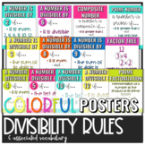 Divisibility Rules Colorful Posters