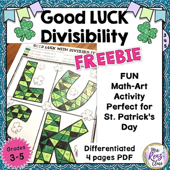 St. Patrick's Day Math Art Divisibility Rules Coloring Math Art   {FREEBIE}