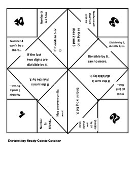Divisibility Rules Cootie Catcher