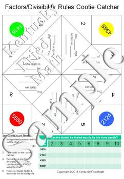 Divisibility Rules Cootie Catcher SMART Notebook & Printables Middle School Math