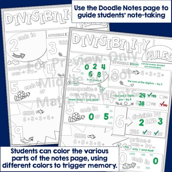 Divisibility Rules Doodle Notes and Problem Solving