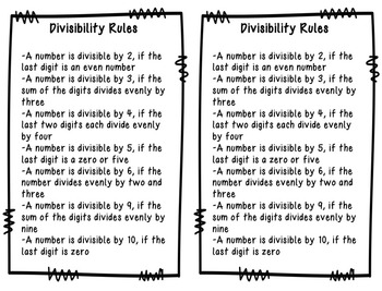 Divisibility Rules Enrichment Task Cards