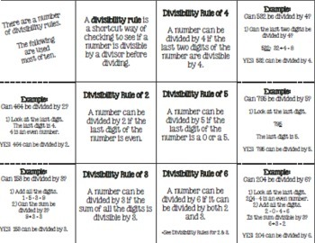 Divisibility Rules Fold-Up & Practice Pages