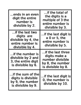 Divisibility Rules Foldable Notes