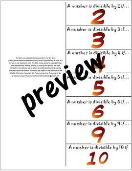 Divisibility Rules Foldable for Interactive Math Notebook