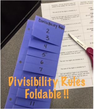 Divisibility Rules Foldable with student instructions