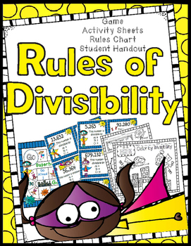 Divisibility Rules Game, Worksheets, Anchor Chart, Student Helper Handout