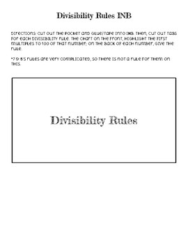 Divisibility Rules INB