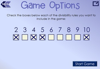 Divisibility Rules Interactive Game