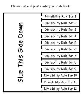 Divisibility Rules Interactive Notebook Lesson