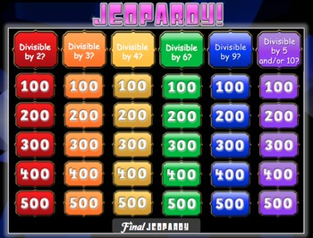 Divisibility Rules Jeopardy Review Game!