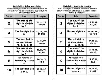 Divisibility Rules Match Up