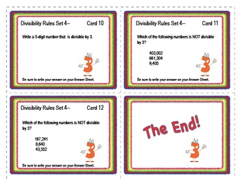 SOLVE IT! Divisibility Test for THREE Practice Task Cards