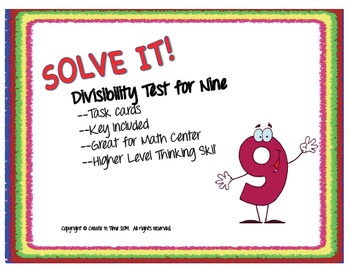 SOLVE IT! Divisibility Test for NINE Practice Task Cards