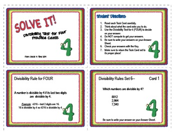 SOLVE IT! Divisibility Test for FOUR Practice Task Cards
