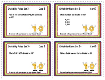 SOLVE IT! Divisibility Test for TEN Practice Task Cards
