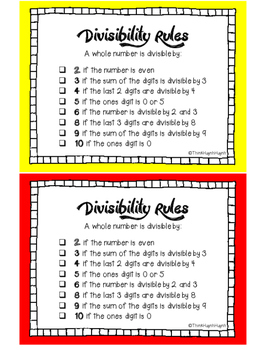 MATH: Divisibility Rules - Mini Student Visuals