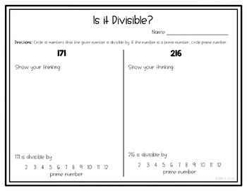 Divisibility Rules NO PREP Printable