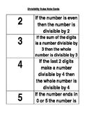 Divisibility Rules Note Cards