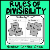 Divisibility Rules Number Sorting Game, Math Center, Montessori Game, 4.OA.4