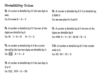 Divisibility Rules Packet and Game