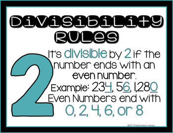 Divisibility Rules Poster Freebie