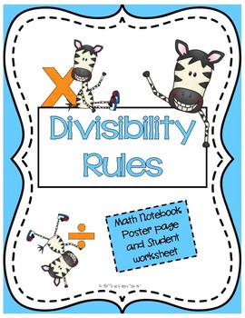 Divisibility Rules Poster Page and ISN notebook page