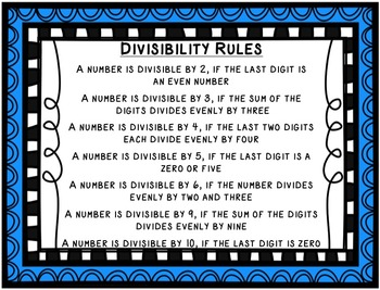 Divisibility Rules Poster Set