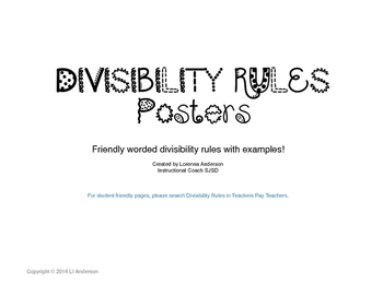 Divisibility Rules Posters